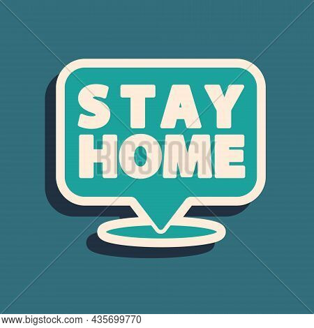 Green Stay Home Icon Isolated On Green Background. Corona Virus 2019-ncov. Long Shadow Style. Vector