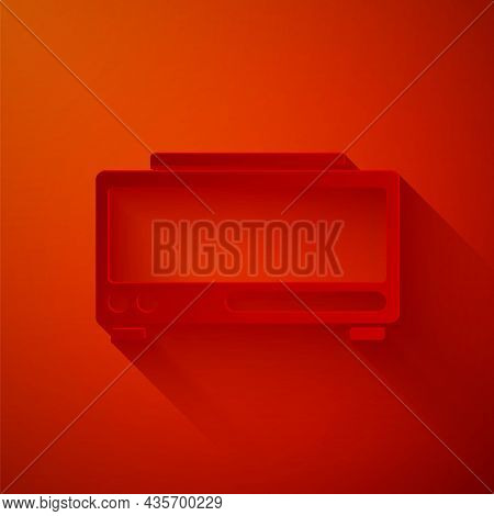 Paper Cut Digital Alarm Clock Icon Isolated On Red Background. Electronic Watch Alarm Clock. Time Ic