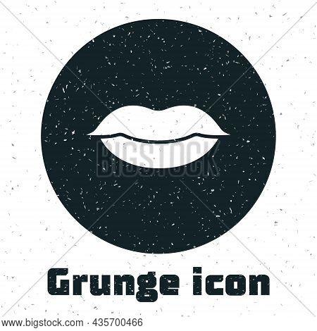 Grunge Smiling Lips Icon Isolated On White Background. Smile Symbol. Monochrome Vintage Drawing. Vec