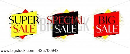 Modern Sale Sticker And Tag Colorful Template Collection. Super, Special And Big Sale Badge For Onli