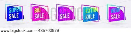 Sale Sticker Label For Marketing Offer Promotion Set. Sale Badge Template For Web And Social Media M