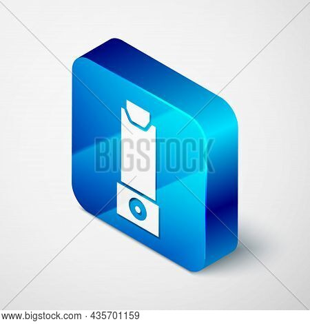 Isometric Inhaler Icon Isolated On Grey Background. Breather For Cough Relief, Inhalation, Allergic