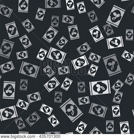 Grey Olives In Can Icon Isolated Seamless Pattern On Black Background. Concept Of Canned Food. Vecto