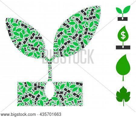 Vector Plant Sprout Composition Is Organized Of Random Recursive Plant Sprout Pictograms. Recursive