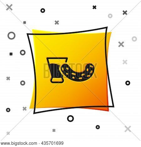 Black Glass With Vodka And Cucumber Icon Isolated On White Background. Yellow Square Button. Vector