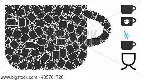 Vector Tea Cup Fractal Is Created With Randomized Fractal Tea Cup Pictograms. Fractal Mosaic Of Tea