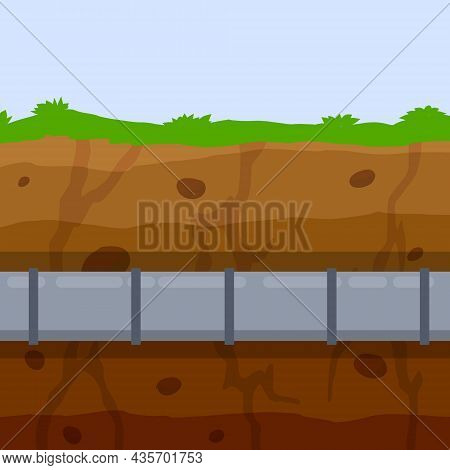 Underground Pipeline. Sewage System. An Oil Pipeline In The Ground. Nature And Soil. Flat Illustrati