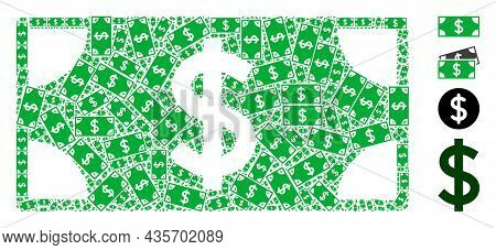 Vector Dollar Banknote Fractal Is Done Of Randomized Fractal Dollar Banknote Icons. Fractal Combinat