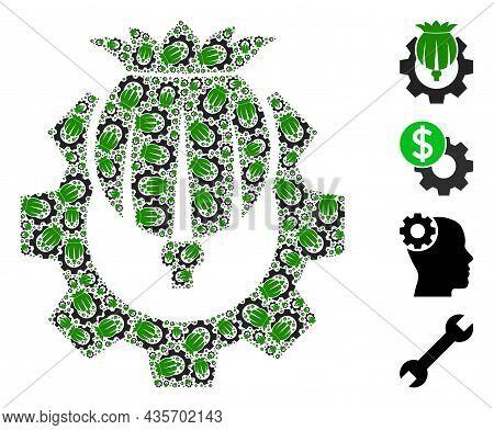 Vector Opium Industry Fractal Is Created From Random Recursive Opium Industry Pictograms. Fractal Mo