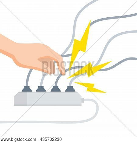 Electric Shock And Short Circuit. Safety Precautions. Hand Touches Bare Wire. Damaged Electrical Wir