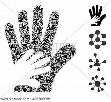 Vector Friend Hands Composition Is Composed Of Random Recursive Friend Hands Parts. Recursive Mosaic