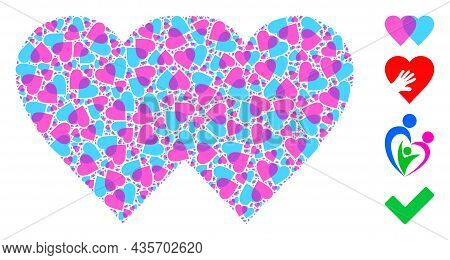 Vector Lovely Hearts Collage Is Designed From Randomized Recursive Lovely Hearts Icons. Recursive Mo