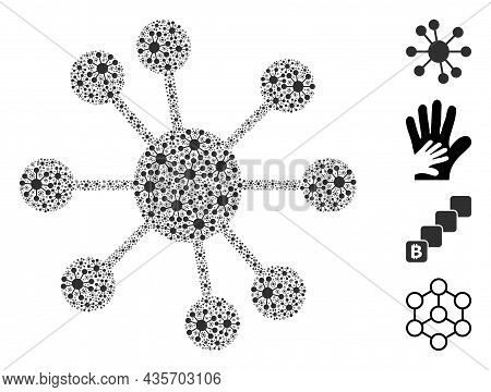 Vector Node Relations Fractal Is Composed With Repeating Recursive Node Relations Elements. Fractal