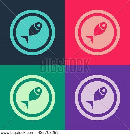 Pop Art Served Fish On A Plate Icon Isolated On Color Background. Vector