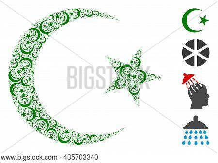 Vector Muslim Moon Composition Is Constructed From Repeating Recursive Muslim Moon Elements. Recursi