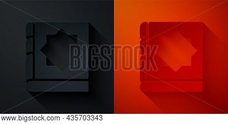 Paper Cut Holy Book Of Koran Icon Isolated On Black And Red Background. Muslim Holiday, Eid Mubarak,