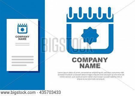 Blue Ramadan Calendar Icon Isolated On White Background. Ramadan Kareem And Islamic Symbols. Logo De