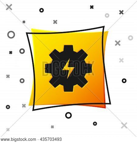 Black Gear And Lightning Icon Isolated On White Background. Electric Power. Lightning Bolt Sign. Yel