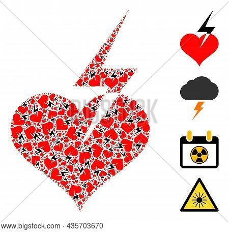 Vector Heart Strike Composition Is Organized With Scattered Recursive Heart Strike Icons. Recursive