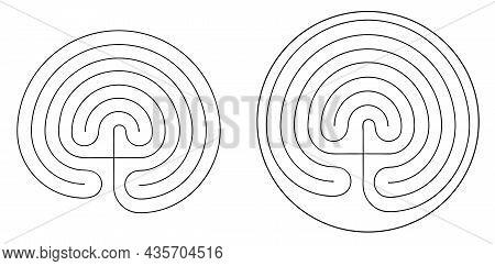 Crete Traditional Symbol. Cretan Labyrinth Vector Illustration