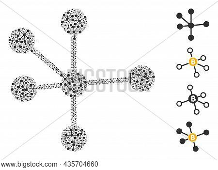 Vector Node Connections Fractal Is Constructed From Repeating Fractal Node Connections Parts. Fracta