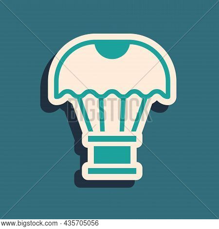 Green Box Flying On Parachute Icon Isolated On Green Background. Parcel With Parachute For Shipping.