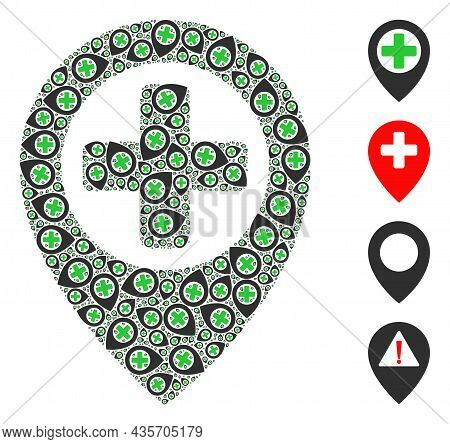 Vector Hospital Map Pointer Composition Is Formed Of Random Fractal Hospital Map Pointer Parts. Frac