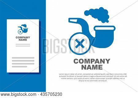 Blue Smoking Pipe With Smoke Icon Isolated On White Background. Tobacco Pipe. Logo Design Template E