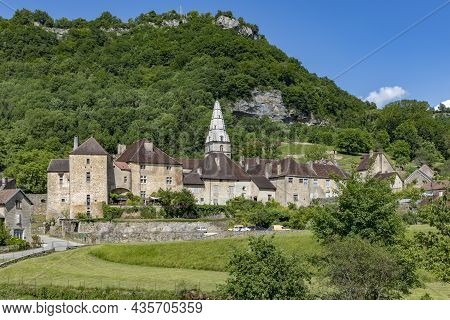 Panoramic View Of Small Village Baume Les Messieurs In French Jura Region With Castle