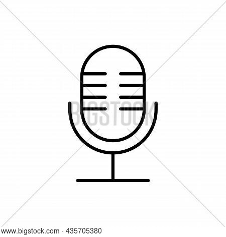 Microphone, Simple Outline Mic Icon In Black. Isolated Symbol On White. Record, Sound, Voice Illustr