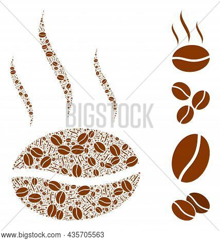 Vector Coffee Aroma Composition Is Composed From Scattered Fractal Coffee Aroma Items. Fractal Compo