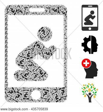 Vector Pray App Mosaic Is Designed With Random Recursive Pray App Icons. Recursive Mosaic Of Pray Ap