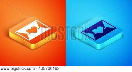 Isometric Envelope With Valentine Heart Icon Isolated On Orange And Blue Background. Message Love. L