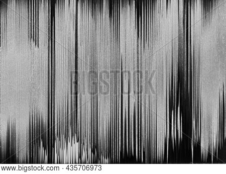 Analog Glitch Texture. Distressed Overlay. Old Videotape Damage. Tv Signal Error. Dark Black White B