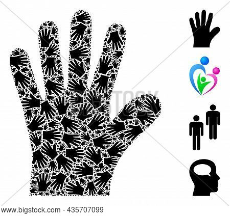 Vector Hand Palm Fractal Is Constructed Of Scattered Fractal Hand Palm Icons. Fractal Mosaic Of Hand