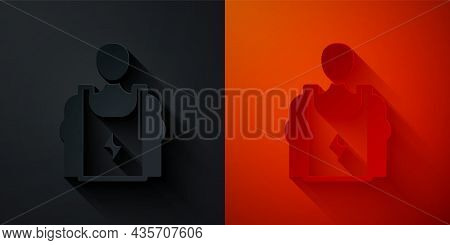 Paper Cut Bodybuilder Showing His Muscles Icon Isolated On Black And Red Background. Fit Fitness Str