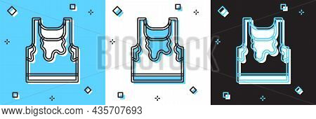 Set Sweaty Sleeveless Sport T-shirt Icon Isolated On Blue And White, Black Background. Vector