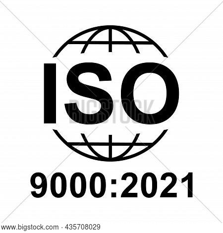 Iso 9000:2021 Icon. Standard Quality Symbol. Vector Button Sign Isolated On White Background .