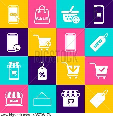 Set Label Template Price Tag, Shopping Cart With Check Mark, Price New, Refresh Shopping Basket, Add