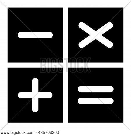Plus, Minus, Multiply And Equal To Mathematics Symbol, Education Maths Icon, Web Element Vector Illu