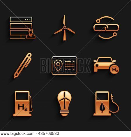 Set Address Book, Light Bulb With Wind Turbine, Bio Fuel Fueling Nozzle, Hydrogen Car, Filling Stati