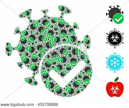 Vector Virus Confirmed Collage Is Constructed From Repeating Fractal Virus Confirmed Pictograms. Fra