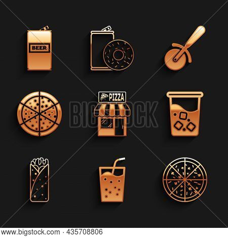 Set Pizzeria Building Facade, Glass With Water, Pizza, Burrito, Knife And Beer Can Icon. Vector