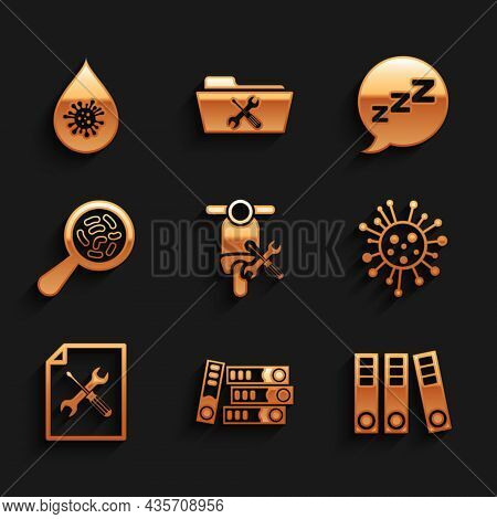 Set Scooter Service, Office Folders, Bacteria, File Document, Microorganisms Under Magnifier, Speech