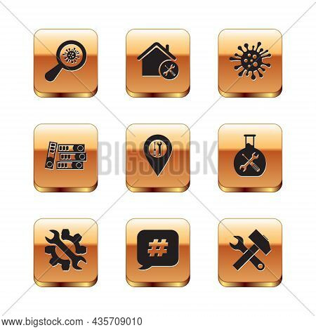 Set Microorganisms Under Magnifier, Wrench And Gear, Hashtag Speech Bubble, Location Service, Office