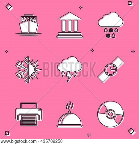 Set Ship, Bank Building, Cloud With Snow And Rain, Sun Snowflake, Storm And Wrist Watch Icon. Vector