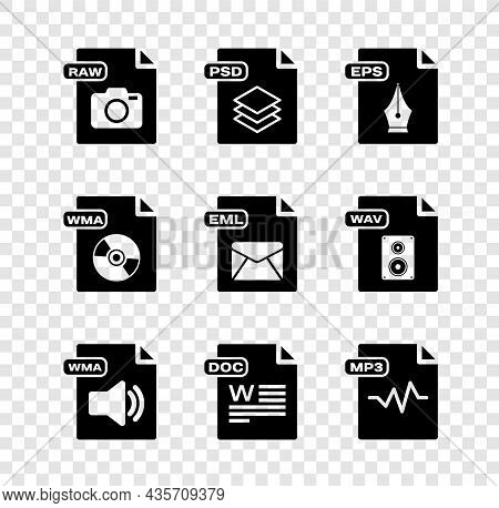 Set Raw File Document, Psd, Eps, Wma, Doc, Mp3, And Eml Icon. Vector