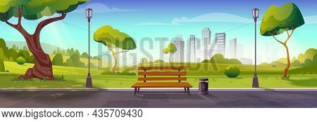 Summer Park With Bench, Trees, Walking Path And Lamp Posts. Landscape With Skyline Cityscape House B
