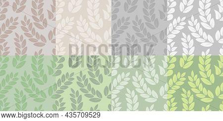 Set Of Seamless Patterns With Odd-pinnate Complex Leaves  A Set Of Endless Patterns Of Leaves Or Twi