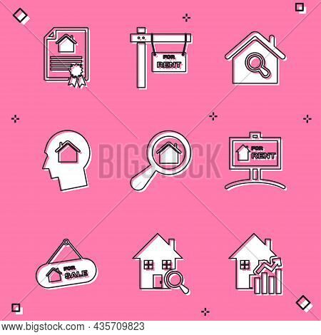 Set House Contract, Hanging Sign With For Rent, Search House, Man Dreaming About Buying, Sale And Ic